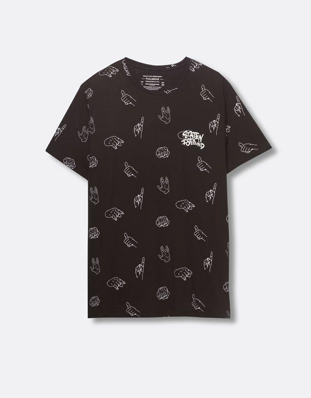 Pull&Bear - homme - t-shirts - t-shirt print manches courtes - noir - 05238512-V2016