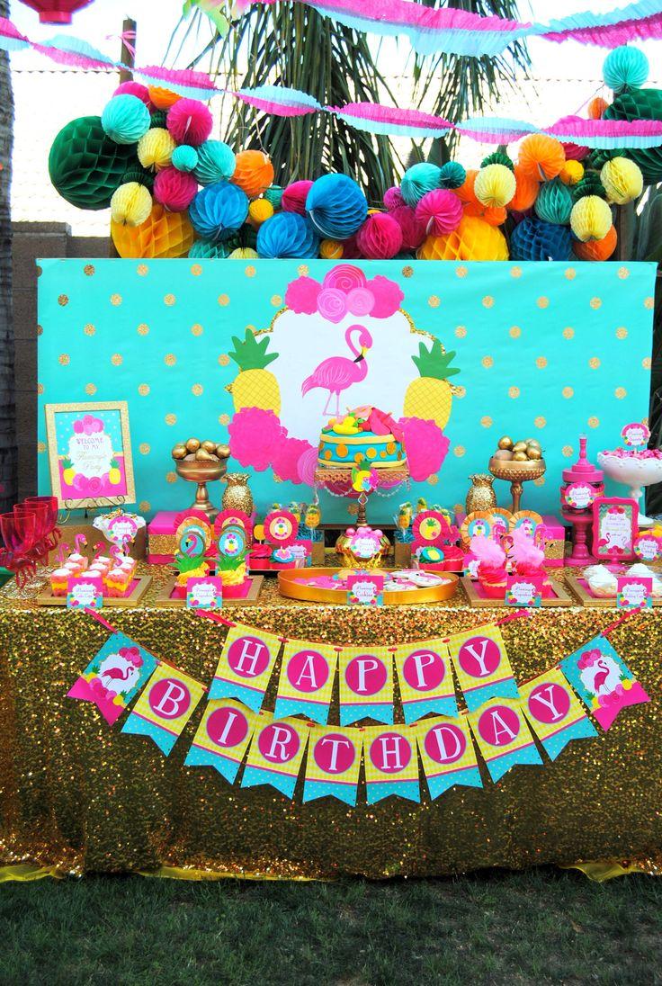 FLAMINGO Party - Flamingo Birthday - Flamingo THANK YOU TAGS - Pineapple - Luau Party