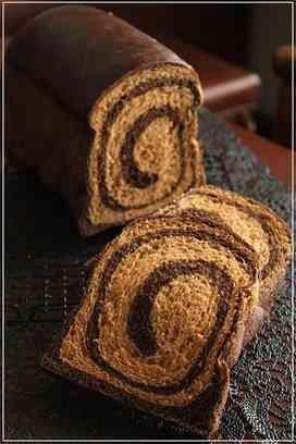 うずまき柄の パン コーヒーとココア味 食パン コーヒー ココア