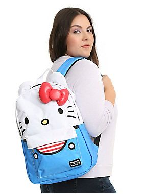 "Set sail with  Hello Kitty . This nautical backpack from Sanrio and Loungefly combines your favorite cartoon cat and a sailor suit color scheme with a red 3D accent bow. Includes exterior zipper pocket, padded back and padded shoulder straps.       100% Polyester  17"" x 12""  Imported"
