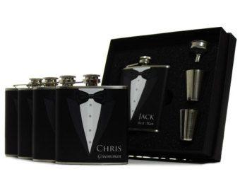 1 Gift for Groomsmen Black Tuxedo Flask Gift Set