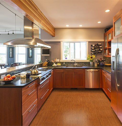 Brown Birch Forna Cork Flooring Floating Spacious Contemporary Upscale Home  Kitchen Interior. When In Search