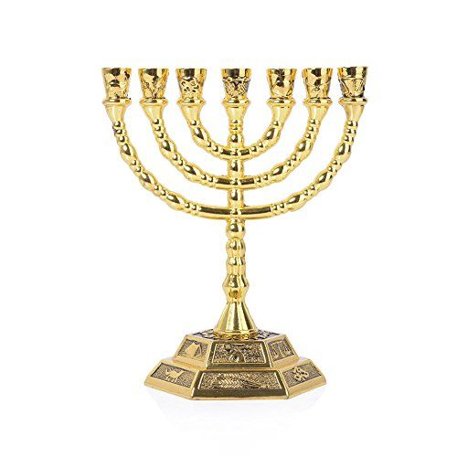 12 Tribes of Israel Menorah 7 Branch Hexagonal Base Jewish Candle Holder Holy Land Gift Large Gold *** Click image for more details. #Candleholders