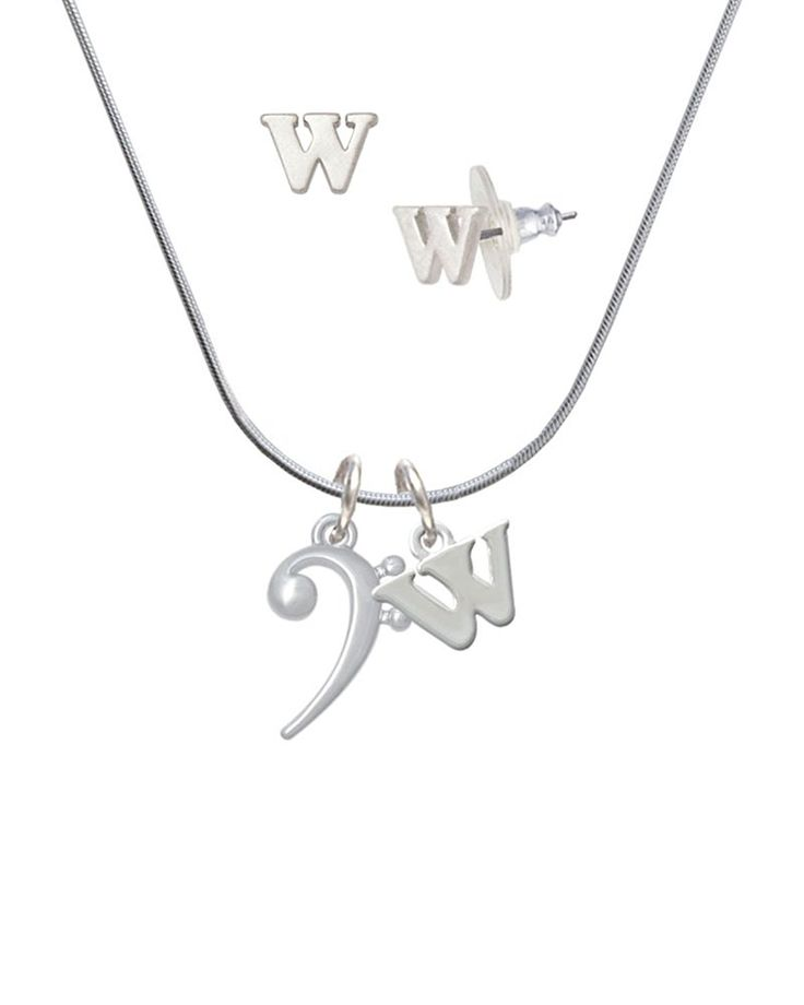Bass Clef - W Initial Charm Necklace and Stud Earrings Jewelry Set >>> Check this awesome product by going to the link at the image. (This is an affiliate link and I receive a commission for the sales)