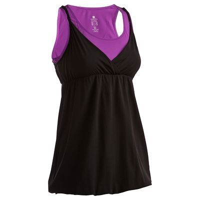 Canotte Fitness, Ginnastica, Danza - Canotta fitness donna vola/nera DOMYOS - Abbigliamento palestra PURPLE