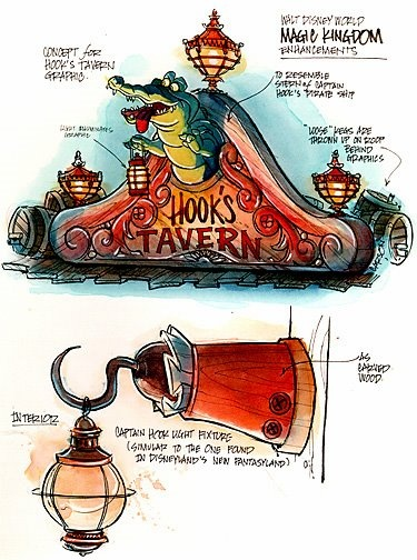 Concept art for Hook's Tavern by Don Carson #disney #imagineering