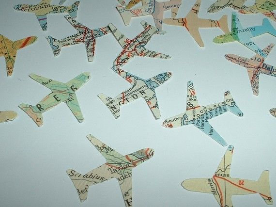 500 AIRPLANES Vintage Atlas Map Punches PARTY PACK Great Table Confetti for Travel Theme Weddings and Parties