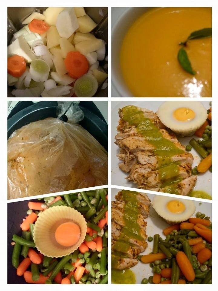 Bimby: Cozinhar em pirâmide. 3 em 1 Creme de legumes com peito de frango e molho verde, acompanhado com legumes e ovos escalfados.