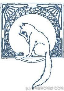 Art Nouveau Cat. Really love the circle and the cat would make a good tattoo