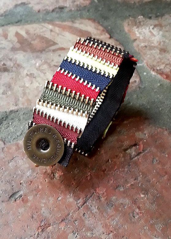 Striped Zipper Cuff.