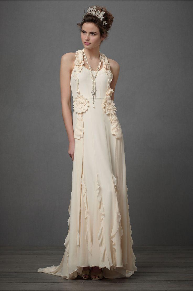romantic: Dresses Wedding, Wedding Dressses, Chic Wedding Dresses, Gowns, Handmade Flower, Columns, Flower Wedding Dresses, The Bride, Ruffles