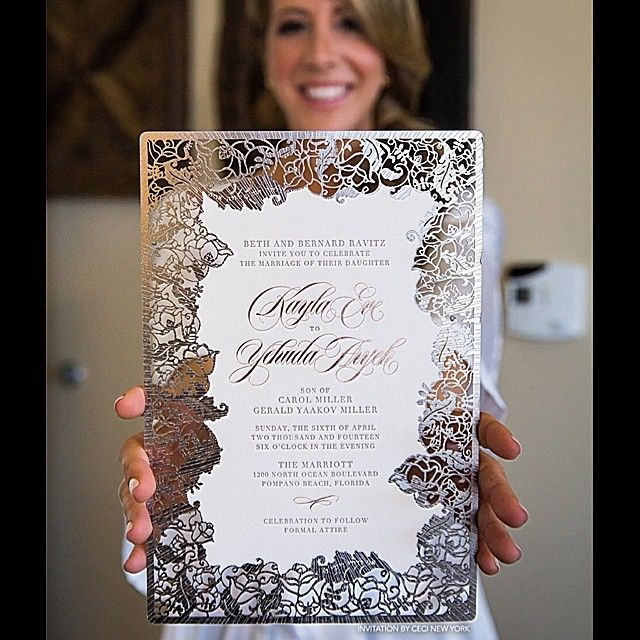 Our radiant #CeciBride Kayla with her #CeciNewYork invitation. My original design for her includes a floral laser-cut border set in metallic pewter foil with tiny, delicate lines radiating out for extra pop. Stay tuned for more details of her day. Photo: @rickysternphotography  #kaylagettingmarried #teamceci #custom #wedding #invitation #luxuryinvitations #design #pink #gray #silver #pewter #metallic #lasercut #letterpress #rosegold #blush #cecijohnson #beautifyyourworld