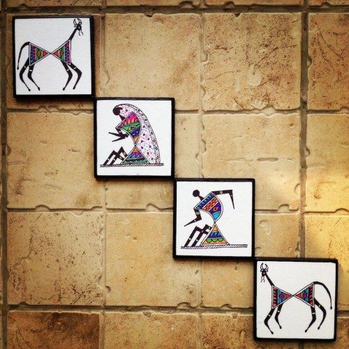 Colourful handmade, handpainted Warli Wall Art in Madhubani style (Set of 4)