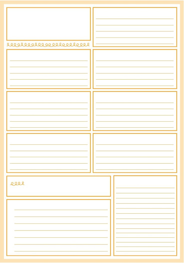 Weekly Planner Pages, free printable in many colors. Could work for definitions and note taking