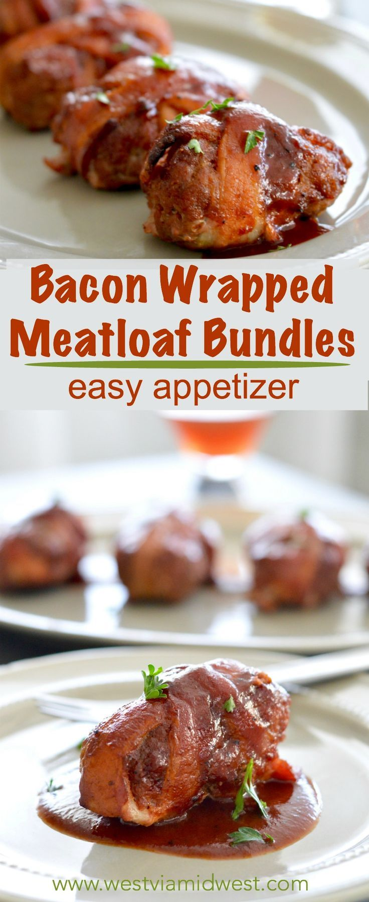 Hearty bacon Meatloaf Appetizer Bundles: Crispy bacon wrapped around meatloaf bundles, brushed with bbq sauce for a filling and comfort food appetizer! Ideal for the holiday party season because they are filling and delicious!  www.westviamidwest.com via @westviamidwest