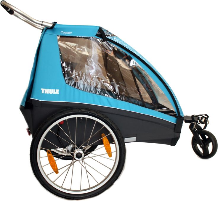 Thule Coaster Double Bicycle Trailer Blue $549 on sale. Weighs 11kg, folds up, has rain cover, converts to pram