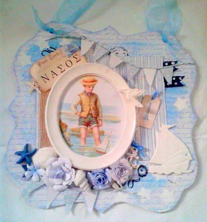 Mixed Media Vintage Nautical  Chipboard Wall Hanging