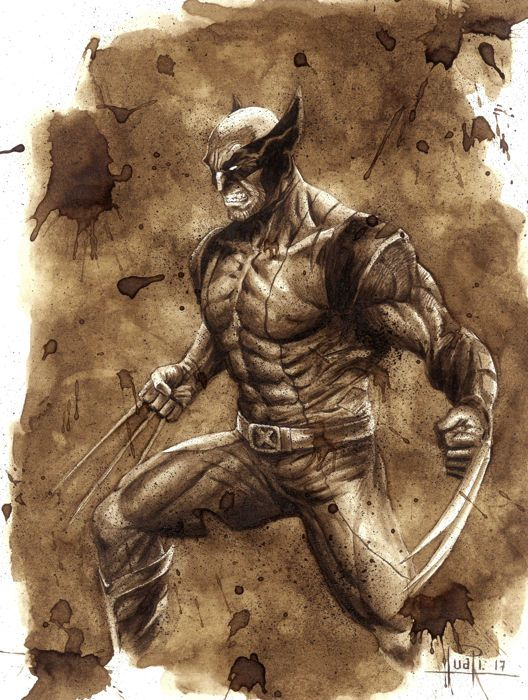 Wolverine - Original Coffee Drawing By Juapi - W.B.