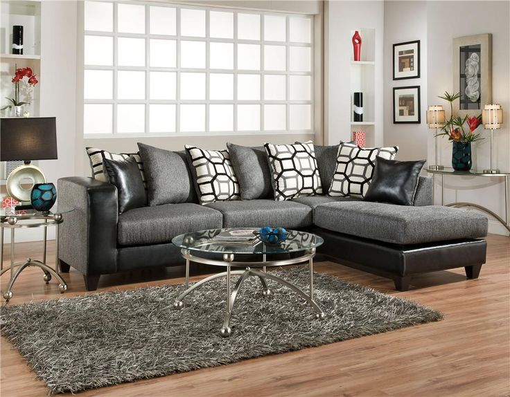 From Samsfurniture.com · Dempsy Black And Charcoal Sectional