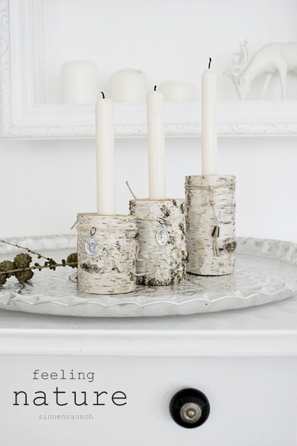 Birchwood candle holder (would be cute with red candles for Christmas)