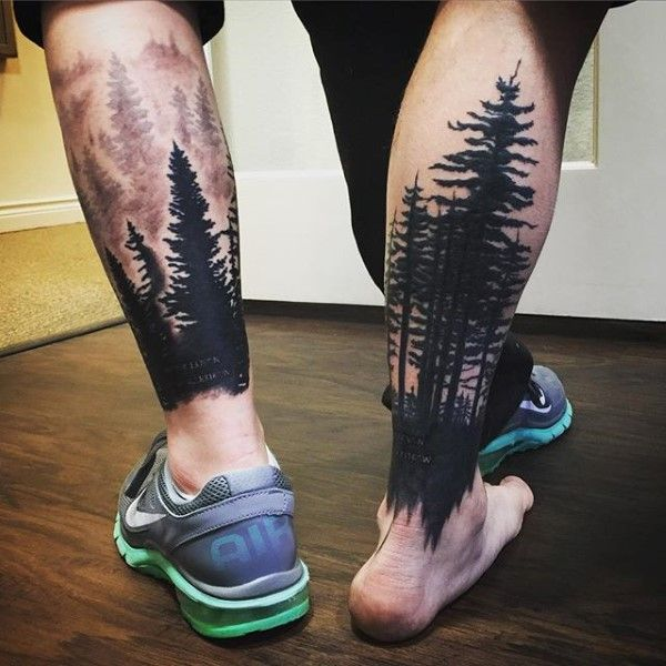 Lower Leg Tree Sleeve Mens Tattoos With Black Ink                                                                                                                                                                                 More