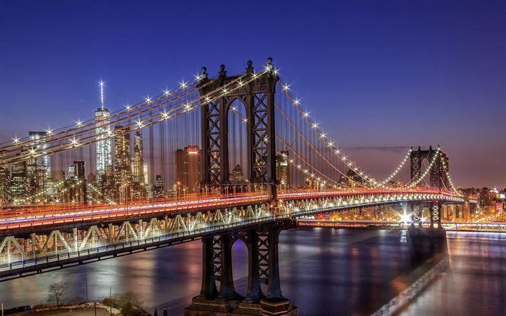 Download wallpapers New York, Manhattan Bridge, night, World Trade Center 1, suspension bridge, East River, Manhattan, USA, city lights