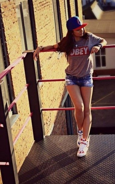 Swag Outfits for Girls | ... long hair grey obey sexy sweaters swag dope swag girl snapback shorts