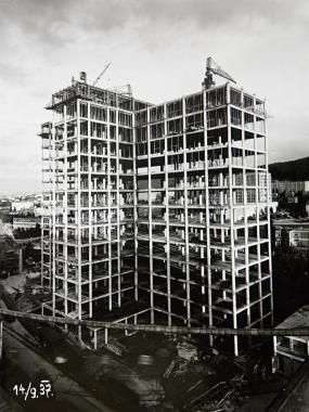 Construction of the Bata skyscraper in Zlín, Czech Republic, 1937 #batashoes