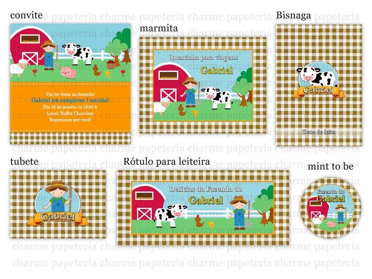 Kit Digital Fazendinha menino marrom e laranja - Charme Papeteria