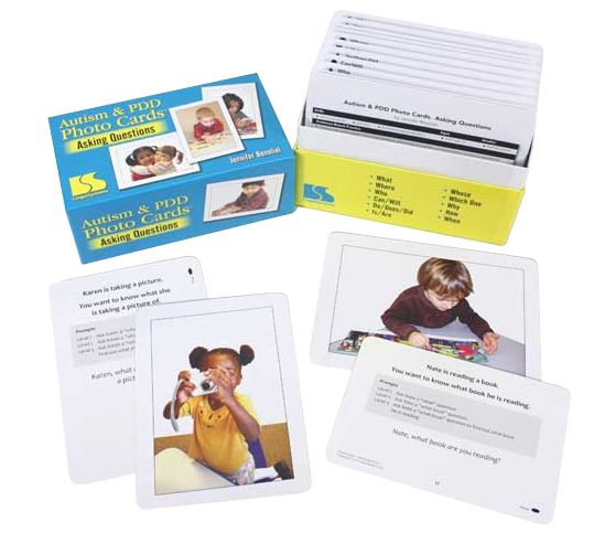 Help your students learn to ask socially appropriate questions! This photo set has 240 large, uncluttered photos with a cuing hierarchy of question-asking language prompts on the back, plus many opportunities for repetition. Photo cards are 5'' x 7''. Boxed. Grades PreK and Up. Ages 3 and Up.$98
