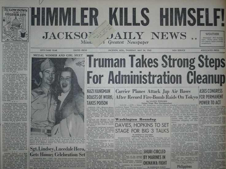 Jackson Daily News newspaper on Himmler's suicide