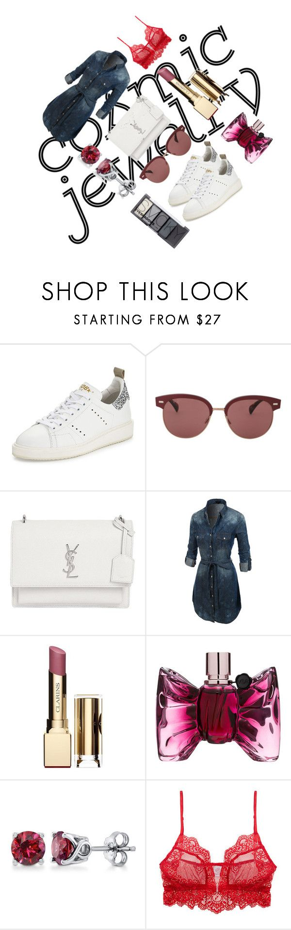 """Publicly reservation"" by ergulso ❤ liked on Polyvore featuring Golden Goose, Oliver Peoples, Yves Saint Laurent, LE3NO, Clarins, Viktor & Rolf, BERRICLE, Only Hearts and H&M"