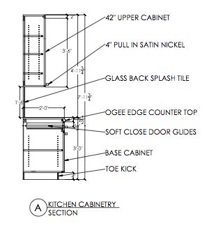 Technical drawing autocad kitchen cabinetry section t for Kitchen cabinets elevation
