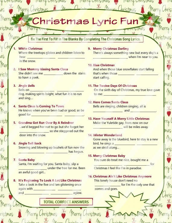 This Christmas Lyrics Game Is A Perfect Group Game Choice For A Family Gathering A Christmas Party Christmas Carol Game Christmas Song Games Christmas Lyrics