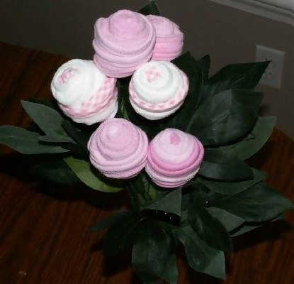pink and white washcloth baby rose bouquet