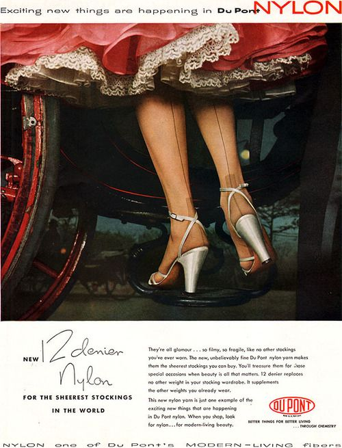 Du Pont Stockings ad, 1953 (love the dress and crinoline, too!). #vintage #1950s #stockings #hosiery #ads
