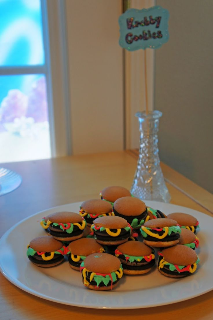SPONGE BOB PARTY - 7 year old  Itinerary:    Once the guests started to arrive they were invited to have a Krabby  Patty hamburger and other...