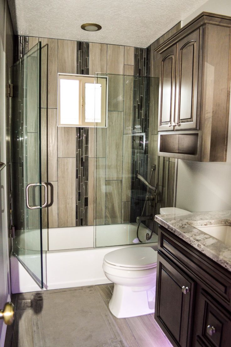 Floating Cabinets, Adjustable Under Cabinet Lighting, Wood Look Vertical  Tile, And