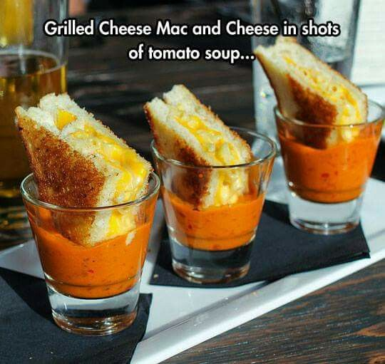 Mini mac and cheese grilled cheese sandwich in shots of tomato soup