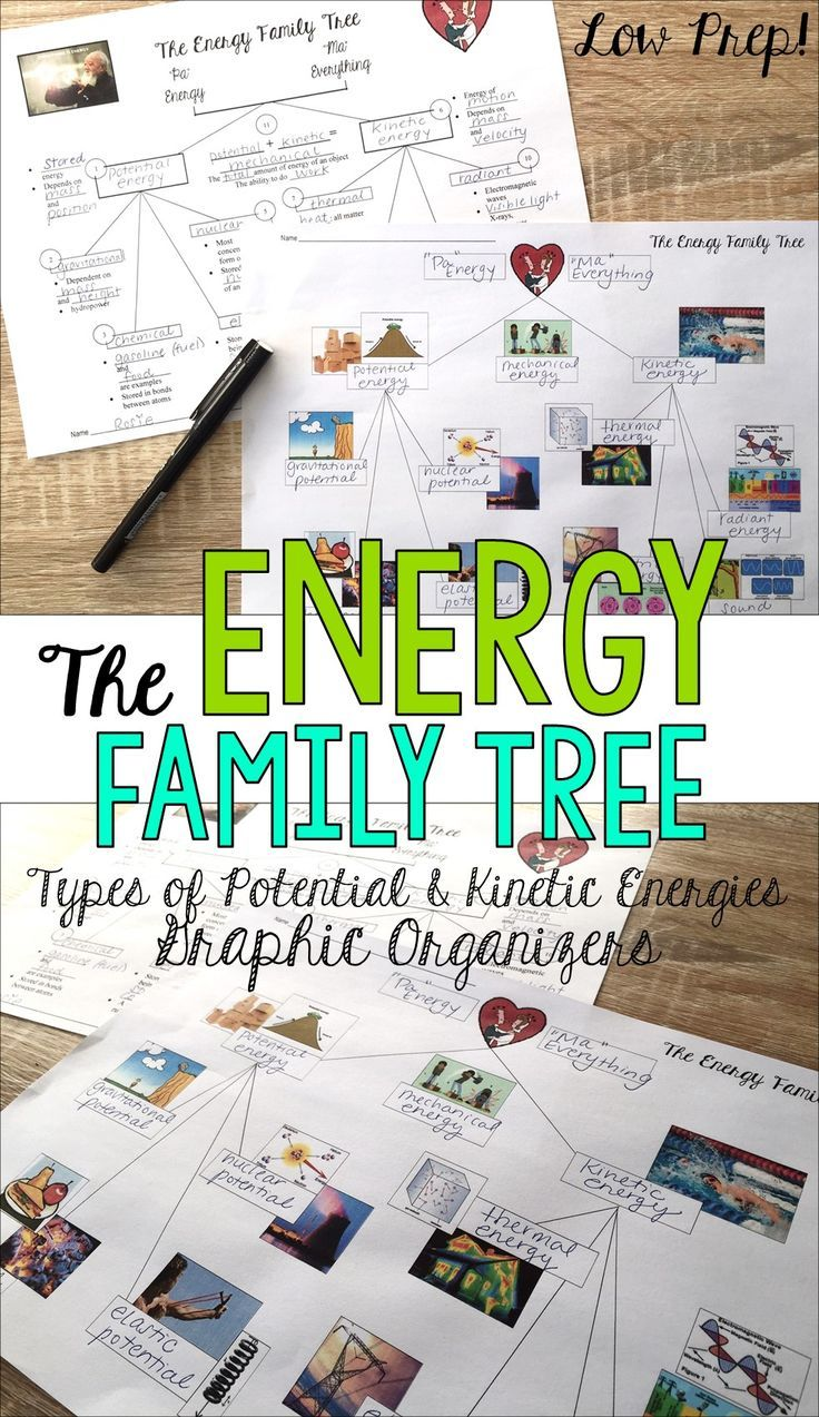 "This lesson helps students to sort out the different ""flavors"" of energy by organizing them into a ""family tree"" with ""Pa Energy"" and ""Ma Everything"" at the top (Albert Einstein once said, ""Everything is energy and that's all there is to it!""), and below them their ""children"" Kinetic and Potential, and their ""grandchildren"" -- thermal, sound, electrical, and radiant are kinetic energies…gravitational, nuclear, chemical, and elastic are potential energies. This graphic organizer..."
