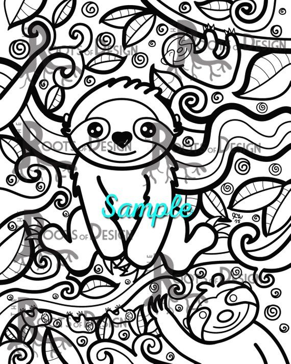 Instant Download Coloring Page Sloth Art Coloring Print Doodle