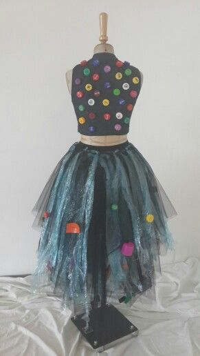 Garbage pollution back view. Plastic accumulates in the ocean in huge gyres ie the pacific garbage patch.  Various organisations and individuals such as Pharell Williams recycle ocean plastic into bionic yarn for denim and other textiles. Designer : Zanné de Meillon