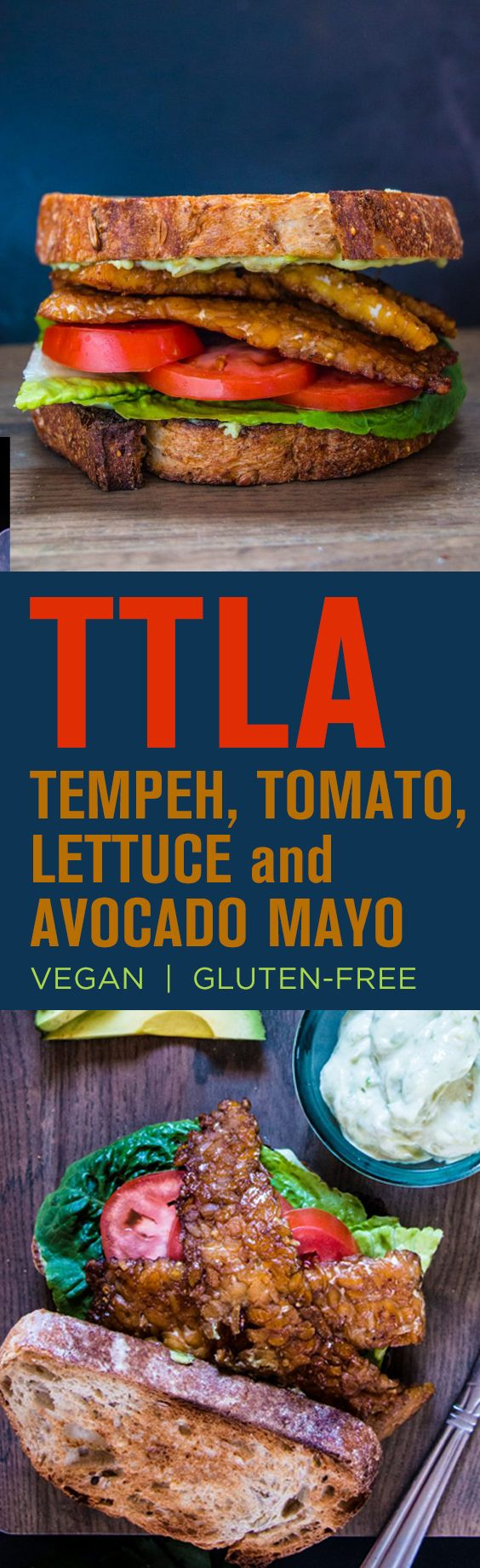 Take the TTLA Challenge with this Tempeh Bacon, Tomato, Lettuce and Avocado Mayo sandwich. It's simple and super good!