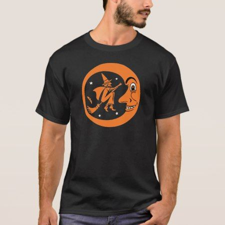 Vintage Halloween Witch and Moon Design T-Shirt - click to get yours right now!