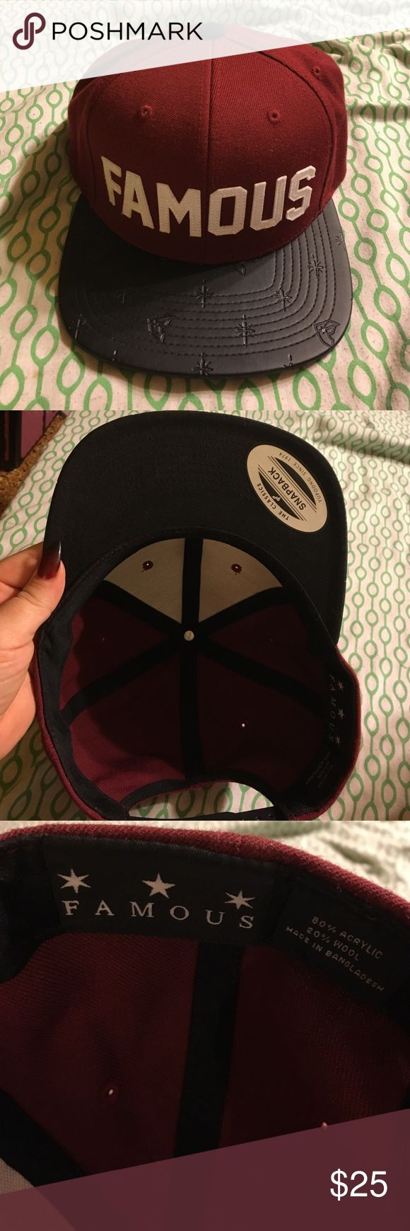 Famous Stars and Straps SnapBack flat bill hat! Dope Maroon/black/white Famous hat! Famous Stars & Straps Accessories Hats