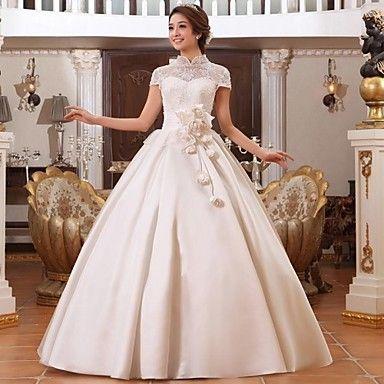 Vestido de Boda Corte en A Cuello Alto Hasta el Suelo ( Encaje/Satén ) – USD $ 179.99