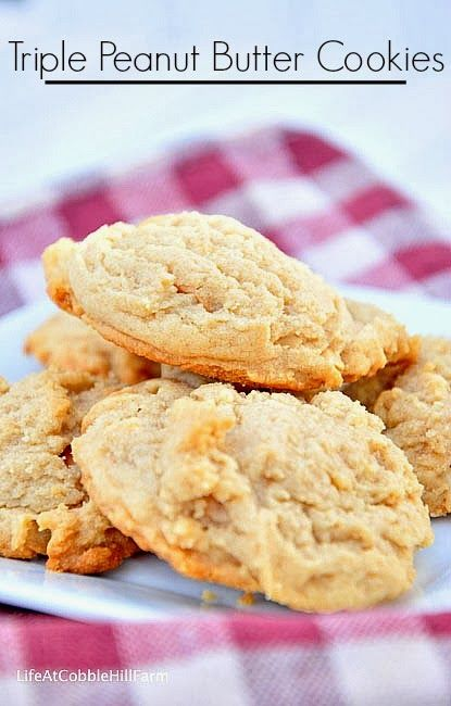 Triple-Peanut Peanut Butter Cookies Recipe — Dishmaps