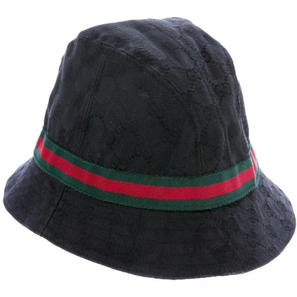 Pre-owned Gucci GG Web Bucket Hat ($225) ❤ liked on Polyvore featuring men's fashion, men's accessories, men's hats, black, mens hats, mens fishing hats, mens fisherman hat and gucci mens hat