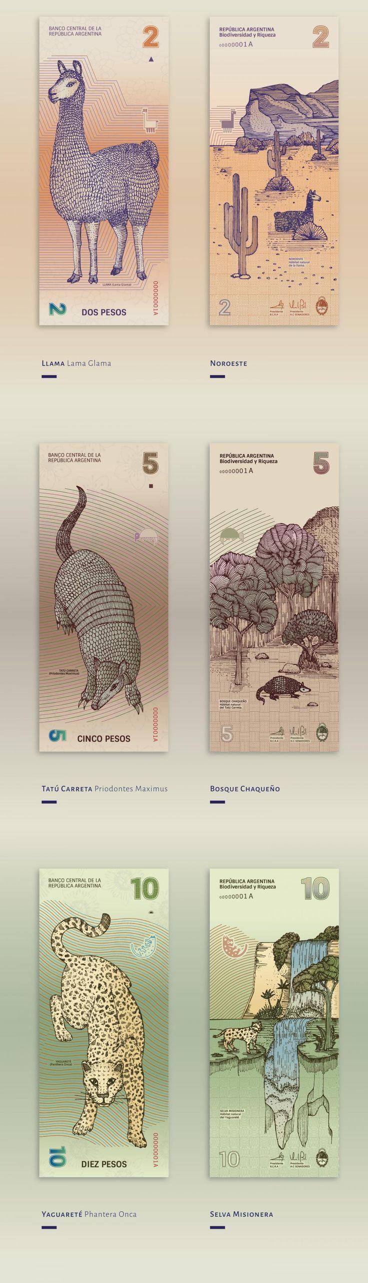 Arjantin'in Doğal Dokusundan Beslenen Banknot Tasarımları  #money #banknote #papermoney #design #nature #tasarım #para #doğa