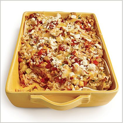 Mexican Chicken Casserole with Charred Tomato Salsa - two-thirds lighter than the classic